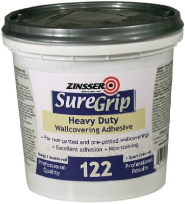 SureGrip 122 Wallcovering Adhesive, Clear, 1-Qt.