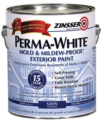 Satin Exterior Paint, 1-Gallon, White