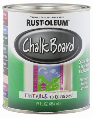 Tintable Chalkboard Latex Paint, Qt.