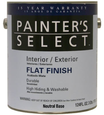 Acrylic Latex Paint, Interior/Exterior, Neutral Base Flat, 1-Gal.