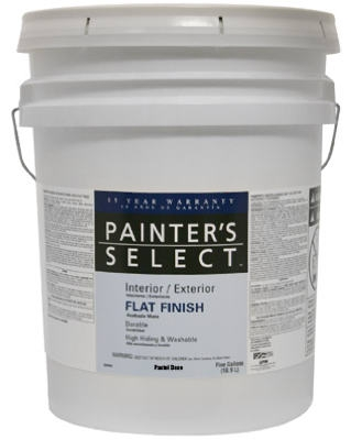 Acrylic Latex Paint, Interior/Exterior, Pastel Base Flat, Tintable White, 5-Gals.
