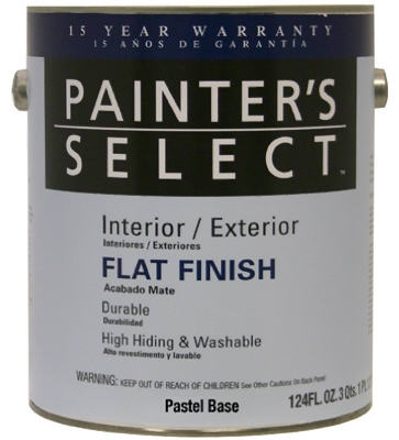 Acrylic Latex Paint, Interior/Exterior, Pastel Base Flat, Tintable White, 1-Gal.