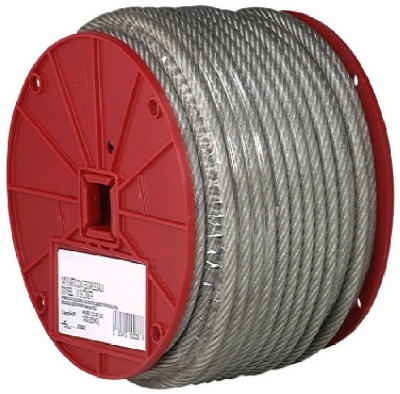 Clear Vinyl Galvanized Cable, 7x19, 3/16-In.-1/4-In. x 250-Ft.