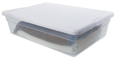 Storage Box, White Lid With See-Thru Base, 28-Qts., Must Purchase in Quantities of 10
