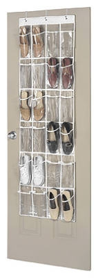 24-Pocket Clear Vinyl Over-The-Door Shoe Organizer