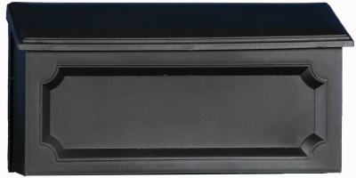 Windsor Wall Mailbox, Horizontal, Black Resin, 7.75 x 15 x 4-In.