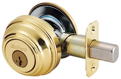 Bright Brass SmartKey Control Single Cylinder Deadbolt