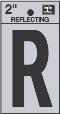 2-Inch Black Adhesive Reflective Vinyl Letter R