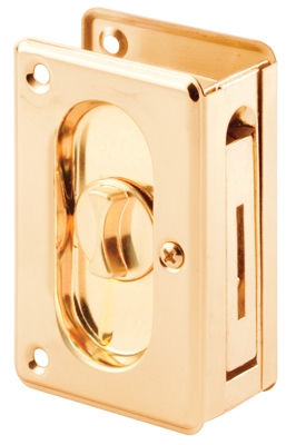 Polished Solid-Brass Pocket Door Privacy Lock & Pull