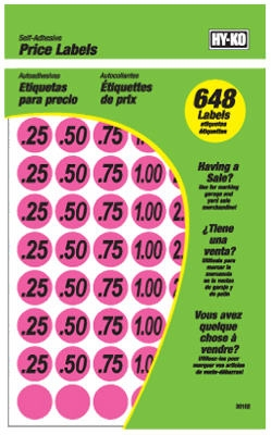 Garage Sale Price Stickers, Pink, .75-In., 648-Pc.