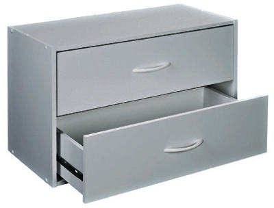 White Laminated Organizer, 2-Drawer