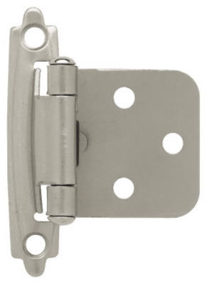 Satin Nickel Self-Closing Overlay Hinges, 2-Pk.