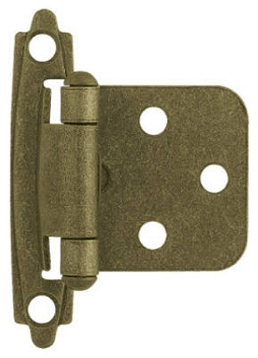 Antique Brass Self-Closing Overlay Hinges, 2-Pk.