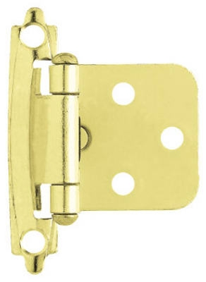 Polished Brass Self-Closing Overlay Hinges, 2-Pk.