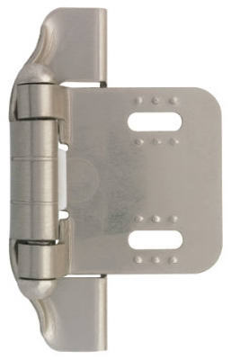 1/4-In. Satin Nickel Semi-Wrap Overlay Hinges, 2-Pk.