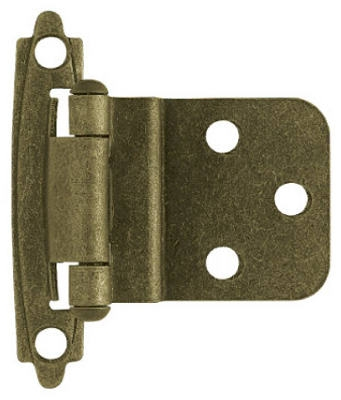 Cabinet Inset Hinge, Self-Closing, Antique Brass, 3/8-In., 2-Pk.