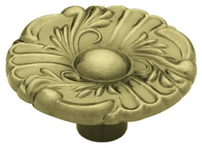 Antique Brass Provincial Round Cabinet Knobs, 2-Pk.
