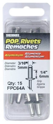 Rivet, Medium, Aluminum, 3/16-In., 15-Pk.