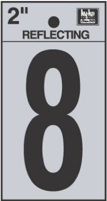 2-Inch Black Adhesive Reflective Vinyl Number 8