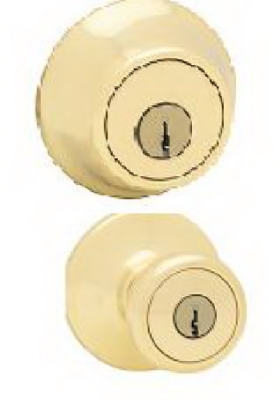 Tylo Entry Lockset & Single-Cylinder Deadbolt, Polished Brass