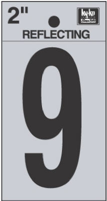 2-Inch Black Adhesive Reflective Vinyl Number 9