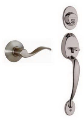 Plymouth Design Handleset, Single Cylinder,  Satin Nickel
