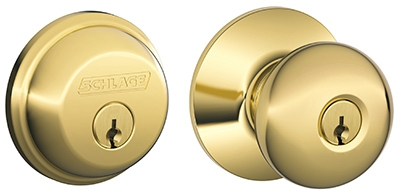 Bright Brass Plymouth Design Keyed Entry Lockset With Single-Cylinder Deadbolt