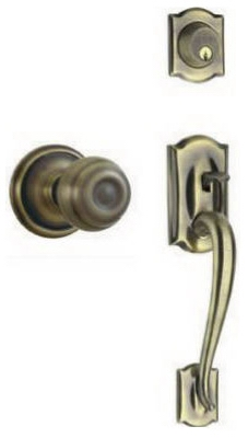 Camelot Exterior Door Handleset, Georgian Design, Single Cylinder, Antique Brass
