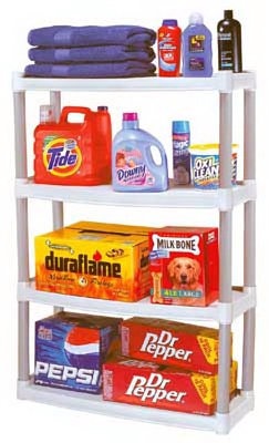 4-Shelf Plastic Shelving Unit, 12 x 32 x 48-In.