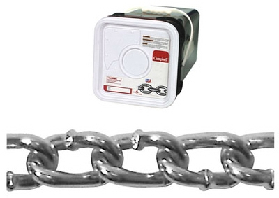 Square Pail 2/0 Twist Link Machine Chain, Blu-Krome, 175', Sold In Store by the Foot