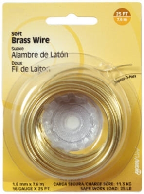 28-Gauge Brass Wire, 75-Ft.