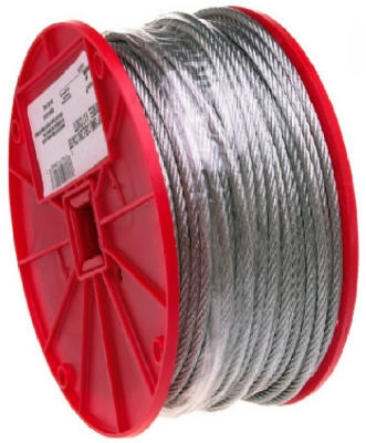 Galvanized Cable, 7x19, 1/4-In. x 250-Ft.