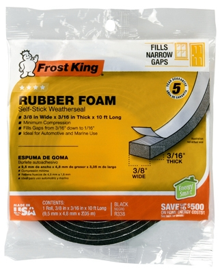 Rubber Foam Weatherseal Tape, 3/8W x 3/16-in. T x 10Ft.
