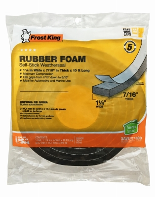 Rubber Foam Weatherseal Tape, 1-1/4W x 7/16-In. T x 10-Ft.