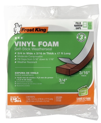 Vinyl Foam Weatherstrip Tape, 3/4W x 3/16-In. T x 17-Ft.