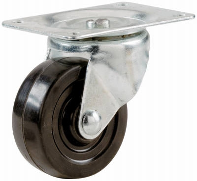 Swivel Plate Caster, Rubber, 2-In.