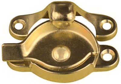 Window Sash Lock, Bright Brass Finish