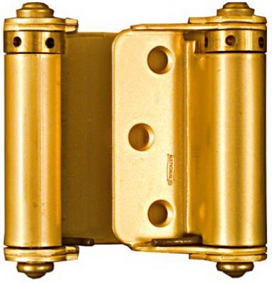 Double-Acting Spring Hinge, Brass, 3-In., 2-Pk.