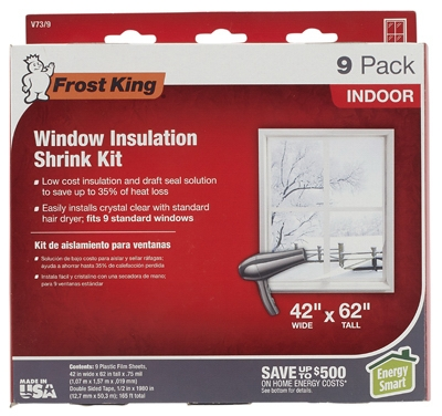 Window Insulation Kit, 42 x 62-In. 9-Pack