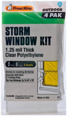 Outdoor Storm Window Kit, 3 x 6-Ft., 4-Pack