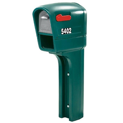 MailMaster Plus Mailbox With Post Cover & Newspaper Holder, Spruce Polypropylene, 50.5 x 22.75 x 9.25-In.