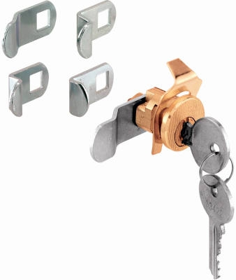 Mailbox Replacement Lock Assortment With 5 Cams & 2 Keys, Brass Finish