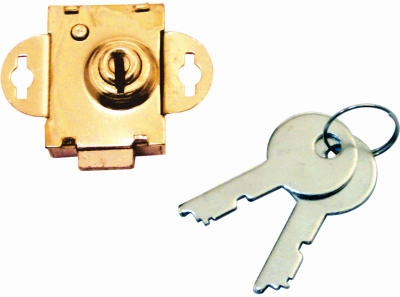 Mailbox Deadbolt Lock With 2 Keys, Brass-Plated Steel, .25-In. Bolt