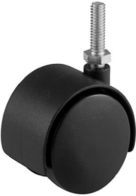 2-Inch Black Twin Stem Caster