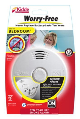 Bedroom Smoke Alarm With Voice Alert, 10-Yr.