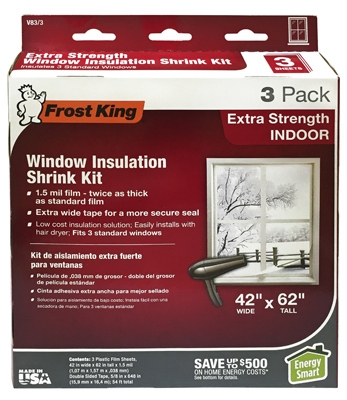 Window Insulation Kit, Indoors, Heavy Duty, 42 x 62-In. 3-Pk.