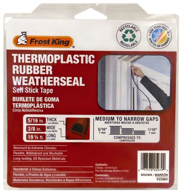 Thermoplastic Rubber Weatherseal, 3/8W x 5/16-In. T x 20-Ft.