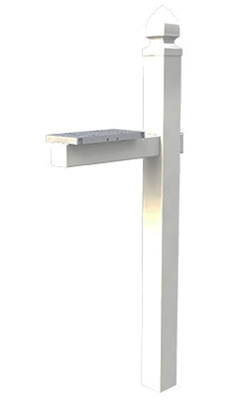 Mailbox Post, Cross-Arm, White PVC, Dual Mount, Fits 4 x 4-Ft. Post