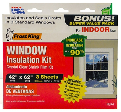 Window Insulation Kit, 3-Pk. Window Sheets, 12-Pk. Switch Plate / Outlet Sealers