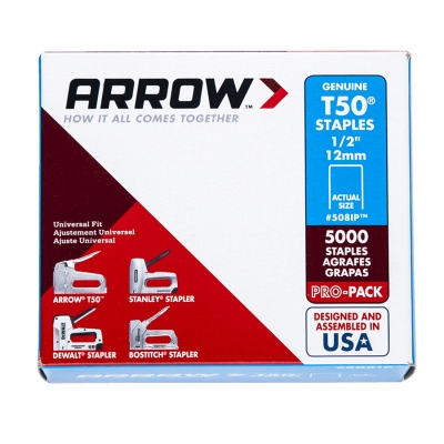 Staples, T-50, .5-In., 5,000-Pk.